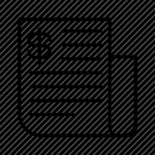 bill, calculation, check, money icon