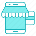market, payment, smartphone, store icon