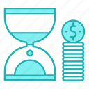 business, hourglass, money, time icon