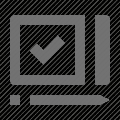checked, checklist, checkmark, pencil, verified icon