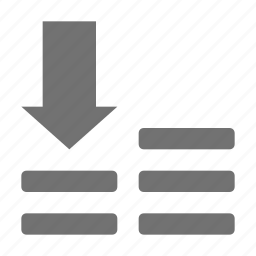 descending sorting, down arrow, horizontal lines, sort down, text alignment icon