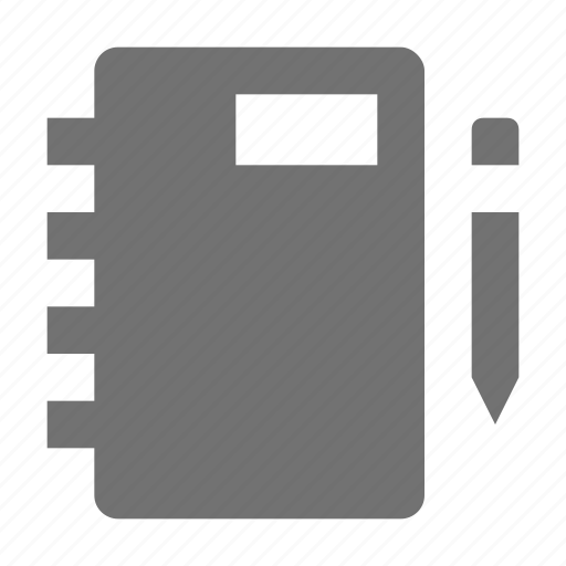 agenda, diary, memo, notebook, pencil icon