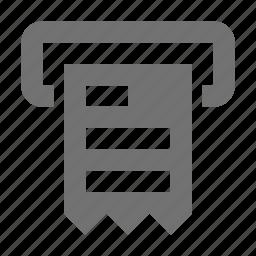 atm receipt, bill, billing machine, invoice machine, receipt machine icon