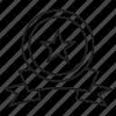 badge, medal, ribbon, star