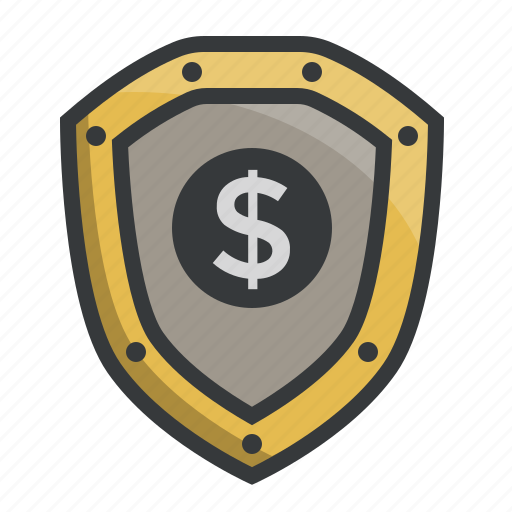 dollar, finance, protection, safety, secure, security, shield icon