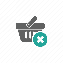 basket, cross, delete, remove, shopping, shopping basket icon