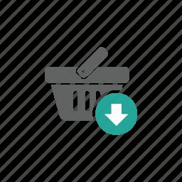 arrow, basket, down, download, shopping, shopping basket icon