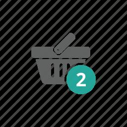 basket, number, shopping, shopping basket, two icon