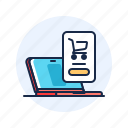 ecommerce, laptop, online, shop icon