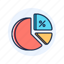 chart, percentage, pie icon