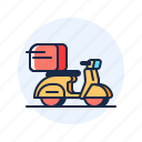 box, delivery, scooter, shopping icon