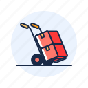 box, trolley, upright icon
