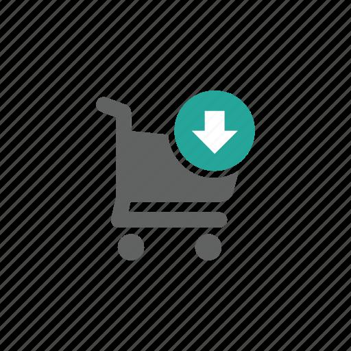arrow, cart, down, download, shopping, shopping cart icon