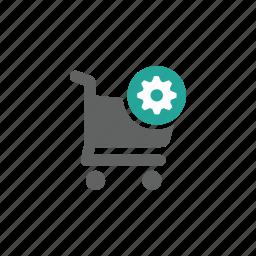 cart, gear, options, setting, shopping, shopping cart icon