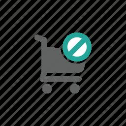 cart, error, prohibit, shopping, shopping cart, warning icon