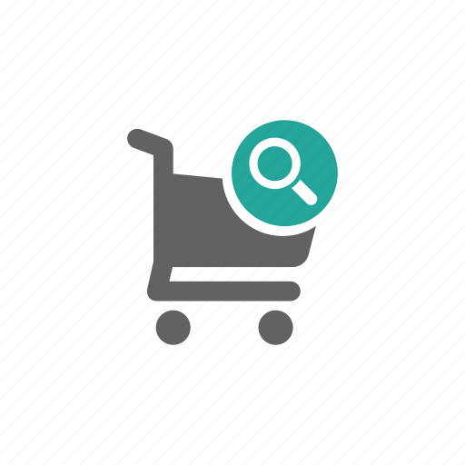 cart, magnify glass, search, shopping, shopping cart icon
