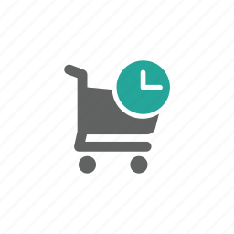 cart, clock, guardar, later, save, shopping, shopping cart icon