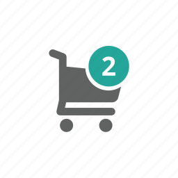 cart, number, shopping, shopping cart, two icon
