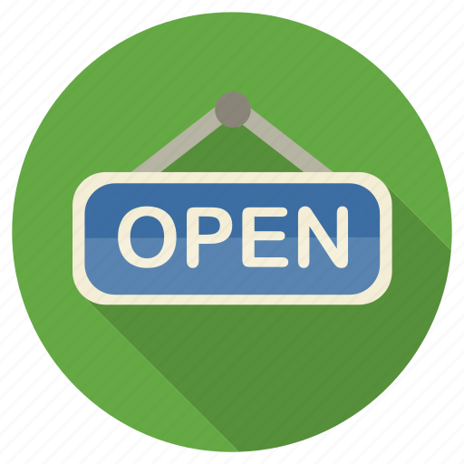 hanged, open, shopping, sign icon