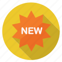 label, new, shopping, splash icon