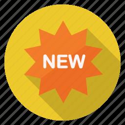 label, new, shopping, splash icon
