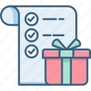gift, item, items, list, mark, shopping, tick icon