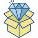 box, courier, diamond, gem, parcel, product, quality icon