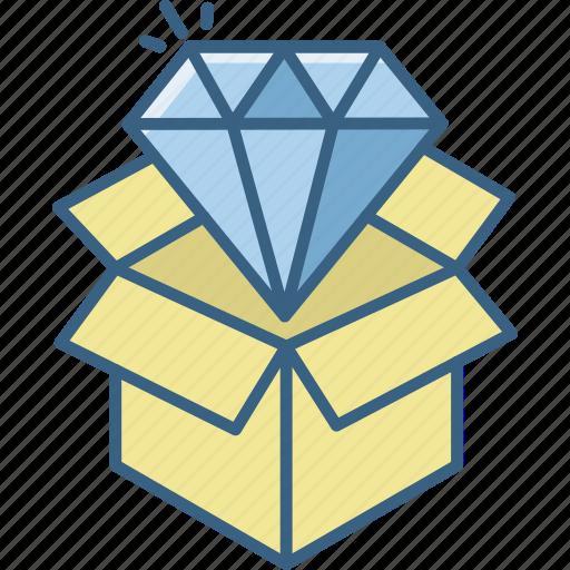 box, courier, diamond, gem, parcel, product, quality icon