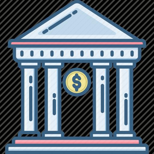 bank, banking, building, finance, financial, house, treasury icon