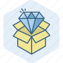 box, delivery, diamond, package, parcel, product, sale icon