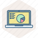 business, diagram, laptop, online, presentation icon