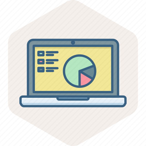 business, diagram, laptop, online, presentation icon