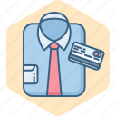 business, card, clothes, clothing, fashion, man, pay icon
