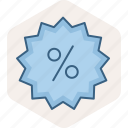 discount, label, offer, percent, percentage, tag icon