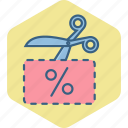 coupon, discount, offer, percentage, scissor, voucher icon