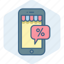 app, discount, mobile, percent, percentage, phone, sale icon