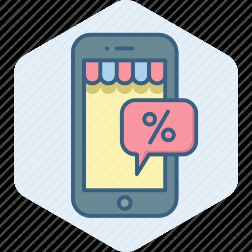 app, discount, mobile, percent, percentage, phone, sale icon