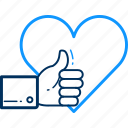 direction, heart, like, thumb, up, wishlist icon
