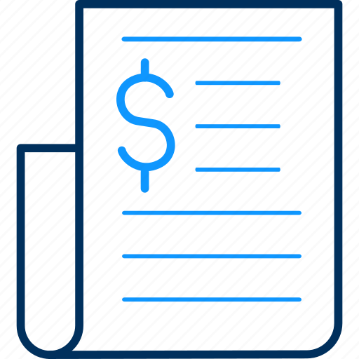 Dollar, invoice, currency, documents, finance, payment icon