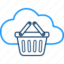 basket, cloud, computing, trolley icon