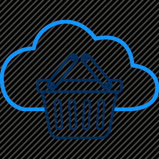 basket, cloud, computing, trolley icon