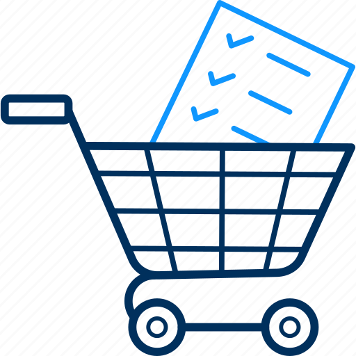 Basket, trolley, items, buy, shopping, cart, business icon