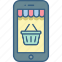 basket, cart, mobile, phone, smartphone icon