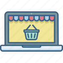 basket, cart, ecommerce, laptop, online, shop, shopping icon
