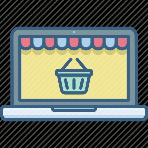 basket, cart, ecommerce, laptop, online, shop, shopping icon