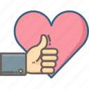 feedback, gesture, hand, heart, like, love, thumb icon