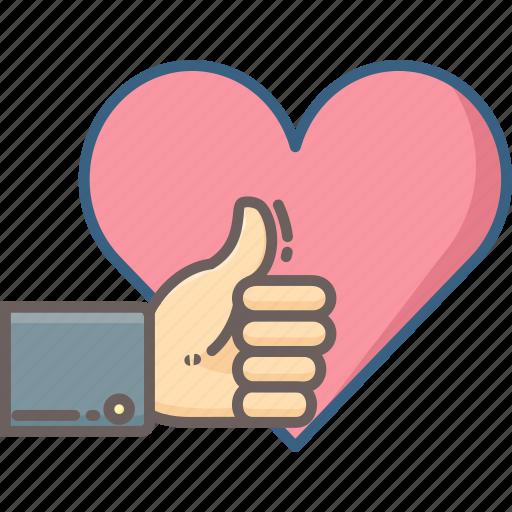 feedback, gesture, hand, heart, like, love, thumb icon