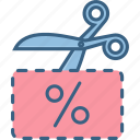 cut, discount, discounted, offer, price, tag, voucher icon