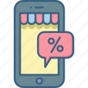 app, discount, mobile, offer, percent, percentage, tag icon