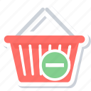 basket, cart, delete, remove, remove from basket icon